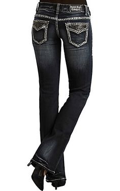 Ooooo VERY niceRock & Roll Cowgirl Women's Dark Wash Stone Flap Low Rise Boot Cut Jean