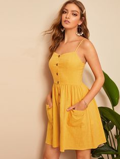 Pocket Patch Button Front Shirred Slip Dress Source by jjbha Kleider gelb Yellow Dress Casual, Casual Summer Dresses, Cute Summer Outfits, Yellow Dress Summer, Yellow Sundress, Casual Wear, Dresses Elegant, Sexy Dresses, Cute Dresses