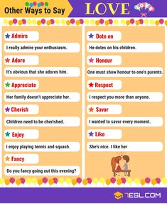 Synonyms for LOVE! Learn LOVE synonyms in English. The list below provides some fantastic words you can use instead of LOVE with example sentences. English Grammar Tenses, Learn English Grammar, English Language Learning, Learn English Words, English Writing, English Study, English Lessons, Grammar And Vocabulary, English Vocabulary Words