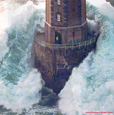 Waves surround this lighthouse!!!