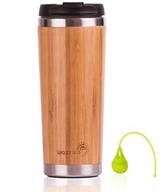 Elegant Reusable Bamboo Eco Travel Mug Thermos for Coffee or Tea  SplashProof Easy to Clean Lid  Silicone Tea Infuser Included 14 Oz ** Want to know more, click on the image.