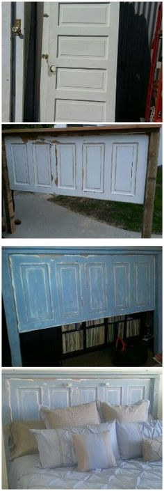 My husbands project..... created a vintage door into a headboard for our king size bed. Loving that vintage look. Inexpensive project :-) so many ideas!!