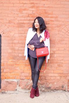 2016 spring casual fashion petite street style White jacket+ Express striped shirt +  black faux leather leggings + Nine West burgundy booties + red Louis Vuitton  bag