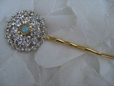 Starburst Crystal and Tiffany Blue Floret Bobby Pin