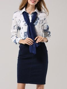 Classic Printed Blouse And Tube Skirt #ClothingOnline #PlusSizeWomensClothing #CheapClothing #FashionClothing #womenswear #sexydress #womensdress #womenfashioncasual #womensfashionforwork  #fashion #womensfashionwinter