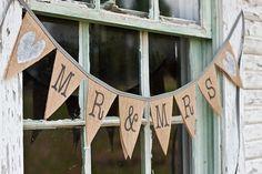 MR & MRS Burlap Wedding Banner photo prop by TheGlitteredBarn, $26.00