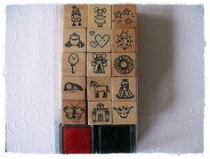 Mini-Stempel Set für Mädchen mit 2 Stempelkissen von Kreativstübchen Jansen auf DaWanda.com