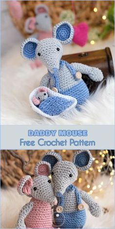 Daddy Mouse, Malvin, is a good husband for Lisa and exemplary father of Sleeping Baby Mouse. He will be a great addition to your amigurumi mouse family. We are want to say thanks if you like to share. Marque-pages Au Crochet, Crochet Mignon, Crochet Cat Pattern, Crochet Mouse, Crochet Toys Patterns, Crochet Patterns Amigurumi, Cute Crochet, Crochet Crafts, Crochet Dolls