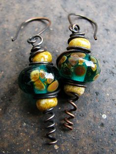 SRA Handmade Lampwork & Toho Seed Copper Earrings by Grubbi, $10.00