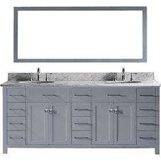 Virtu USA Caroline Parkway 78 Inch Carrara White Marble Double Bathroom  Vanity Set (grey Round Basin   Grey Finish), Size Double Vanities |  Pinterest ...