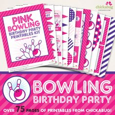Pink Bowling Party Decor Kit - 75 pages of cute party printables. Personalized with your birthday girl's name and age. Print as many as you need! Cute and convenient! Happy Birthday Name, 20th Birthday, Birthday Parties, Party Shop, Diy Party, Bowling Party, Triangle Print, Pennant Banners, Printable Designs