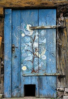Old Wooden Door Painted With Birds,with Cat Flap On A Storage Shed,Simonshofen,Middle Franconia,Bavaria,Germany,Europe Stock Photos / Pictur...
