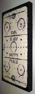 Hockey Canvas Art, Painted Pastimes, Hockey Home Decor Caps Hockey, Hockey Mom, Hockey Stuff, Hockey Nursery, Hockey Bedroom, Rustic Wood Signs, Wooden Signs, Canvas Signs, Canvas Art