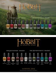 The Hobbit Nail Polish Collection by Stephanie Trimboli. Not meant to be funny, but it is.