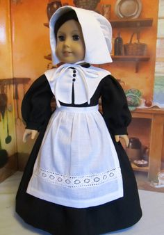 Happy Thanksgiving! Pilgrim Dress:  Black dressmakers wool was used for the dress. White cotton voile was used to make the collar and the apron and bonnet by KeepersDollyDuds