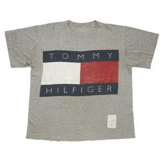 01d0215387cd Tommy Hilfiger Embroidered Big Flag Logo Spell Out T-Shirt 90s Rap Hip-Hop  VTG