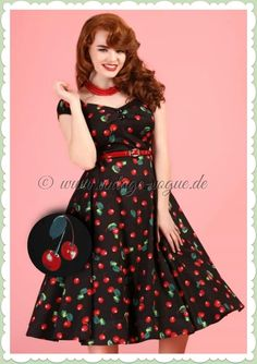 Collectif Clothing Dolores 50s Cherry Swing Dress 102 14 20427 20170130  0025  topvintagebirthdaylook Swing Rock 9d47fd69e7