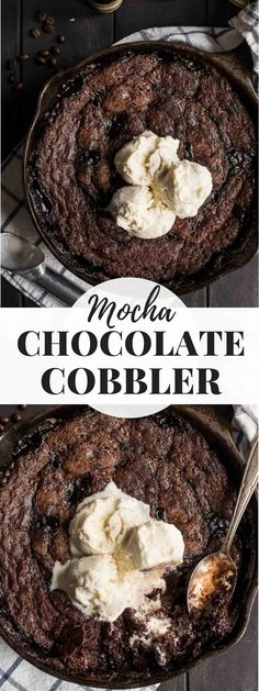 This Skillet Mocha Chocolate Cobbler combines rich chocolate cake with rivers of coffee spiked chocolate sauce for an easy and decadent dessert. Save this one for the chocolate lovers! Chocolate Cobbler, Mocha Chocolate, Chocolate Lovers, Chocolate Desserts, Chocolate Cake, Pudding Desserts, Brownie Pudding, Dessert Recipes, Fresh Fruit Desserts