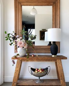 Fall Home Inspiration Round-Up​ — Scout & Nimble - Fall Home Inspiration Round-Up​ — Scout & Nimble Warm toned entryway + rich wood table + a-frame console table + black and white table lamp + entryway + large mirror + wooden mirror Flur Design, Entry Tables, Console Tables, Console Table With Mirror, Wooden Console Table, Wood Tables, Formal Living Rooms, Autumn Home, Entryway Decor