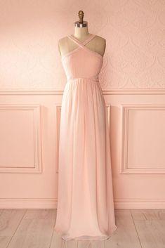 Pink chiffon V neck strapless long sweet 16 prom dress, long open back bridesmaid dress #2018 #promdress #partydress #pinkdress #bridesmaiddresses