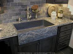 Astounding Kitchen Decoration Using Composite Granite Kitchen Sinks : Cute Image Of Kitchen Decoration Using Grey Marble Subway Tile Kitchen Backsplash Including Grey Granite Kitchen Counter Tops And Farmhouse Grey Composite Granite Kitchen Sinks