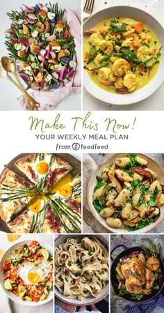 Here's This Week's Meal Planner! Sauteed Mushrooms And Spinach, Stuffed Mushrooms, Stuffed Peppers, Vegan Dessert Recipes, Salad Recipes, Shrimp Curry, Beefsteak Tomato, Roasted Radishes, Caramel Bars