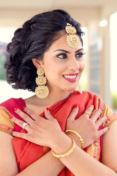 oh man these earrings and mang tikka and the bride's hair - gorgeous!