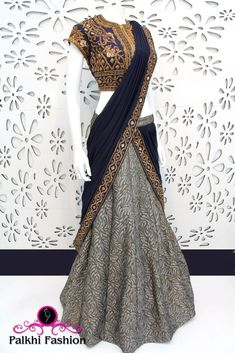 Palkhi Fashion Exclusive Grey & Blue Concept Lehenga with Elegant handwork Blouse Choli Designs, Lehenga Designs, Saree Blouse Designs, Indian Attire, Indian Wear, Indian Dresses, Indian Outfits, Pakistani Dresses, Lehenga Collection