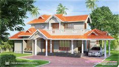Slopping style tiles roof house in 2300 sq.feet ~ Indian House Plans
