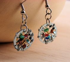 Steampunk Drop Earrings Dangle Earrings Wire Wrapped Multi color Beads Hardware Jewelry Industrial. $12.00, via Etsy.