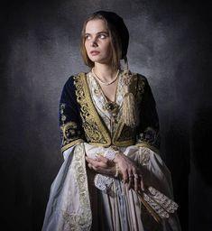 Amalia Dress Mediterranean People, Folk Costume, Costumes, Kimono Top, Sari, Culture, Greeks, Traditional, Fantasy