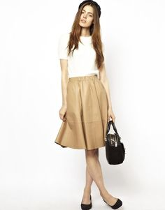 ASOS | ASOS Full Skirt in Leather at ASOS