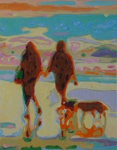 "Saatchi Online Artist Bertram Poole; Painting, ""Hand in Hand on Beach with Two Dogs Bertram Poole Oil Painting"" #art"