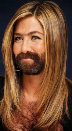 Jennifer Aniston with beard. Lol.