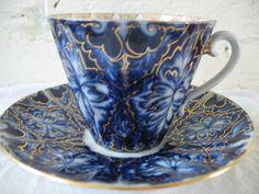Lomonosov Porcelain Teacup and Saucer - Black Grouse - Russian - Cobalt Blue. $30.00, via Etsy.