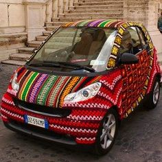 Knitted car.