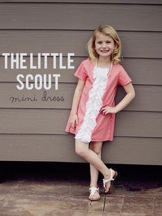 see kate sew: the little scout mini dress! Diy Clothing, Sewing Clothes, Clothing Patterns, Boutique Clothing, Sewing Projects For Kids, Sewing For Kids, Baby Sewing, Girls Dresses Sewing, Little Girl Dresses