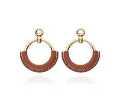 Loop Hermes earrings Barenia calfskin and gold plated<br />