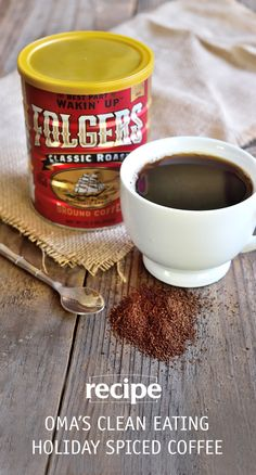 Is there anything better than waking up to the aroma of brewing Folgers® coffee on a cold winter morning? This recipe for Oma's Clean Eating Holiday Spiced Coffee made with the Folgers® Limited Edition Collector's Can will bring you right back to your childhood. This delicious seasonal coffee recipe is elevated with the flavor of cinnamon, cardamom, and honey—it's the most delicious way to savor the nostalgia of the holiday season!