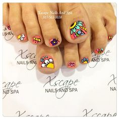 38 Super ideas for nails summer designs toe Pedicure Nail Art, Toe Nail Art, Cute Toe Nails, Pretty Nails, Hair And Nails, My Nails, Feet Nails, Toe Nail Designs, Fabulous Nails