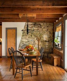 Combining the existing living room and dining room in a 1780s farmhouse created space for a table that expands to seat 20   Photo: Trevor Dixon