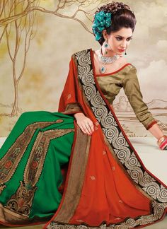 Beautiful #Rust & #Green Chiffon Half And Half #Saree