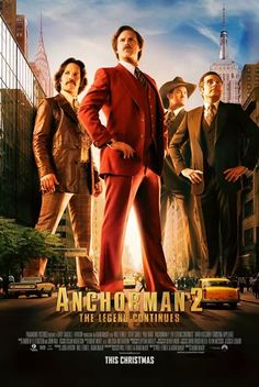 This is the latest poster for Anchorman The Legend Continues featuring Ron Burgundy ( Will Ferrell ), Brian Fantana ( Paul Rudd ), Brick Tamland ( Steve Carell ), and Champ Kind ( David Koechner ) ready to take on New York City. Films Hd, Comedy Movies, New Movies, Good Movies, Movies And Tv Shows, Watch Movies, Movies 2014, Prime Movies, Funny Films