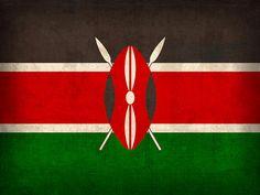 Kenya Flag Vintage Distressed Finish Mixed Media