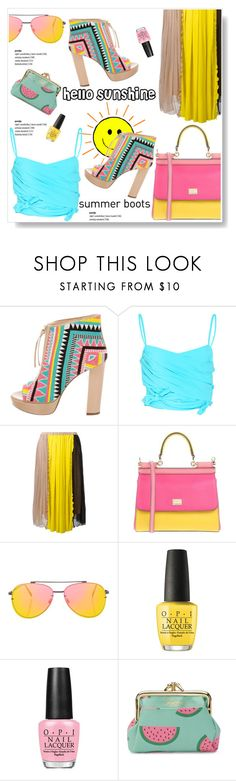 """Miss Sunshine!"" by viola279 ❤ liked on Polyvore featuring Jerome C. Rousseau, Emilio Pucci, N°21, Dolce&Gabbana, Topshop, OPI and Buxton"