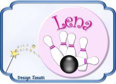 Button  kegeln/Kegelbahn rosa, 43 mm Ø von Jasuki auf DaWanda.com