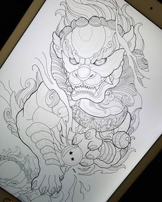 Design for yesterdays 3/4 sleeve, decided to play with details on the day off 🦁 Im currently booking for 2020 and I will be closing off the… Wolf Tattoos, Lion Tattoo, Leg Tattoos, Tattoos For Guys, Sleeve Tattoos, Japanese Tattoos For Men, Japanese Tattoo Designs, Japanese Tattoo Art, Foo Dog Tattoo Design