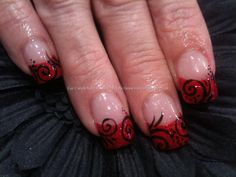 Red glitter freehand nail art