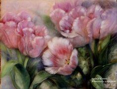 """Картины цветов ручной работы. Ярмарка Мастеров - ручная работа. Купить """"Тюльпаны"""". Handmade. Розовый, восьмое марта, тюльпаны"""