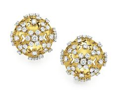 A PAIR OF DIAMOND AND GOLD EAR CLIPS, BY VAN CLEEF & ARPELS   Each designed as a circular-cut diamond and gold domed plaque, mounted in gold, may also be worn as dress clips  Signed Van Cleef & Arpels, N.Y., no. 7915